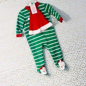 NWT!!!! Holiday Santa Hoodie Striped Pajama Set